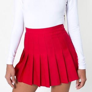 American Apparel Red Pleated Skirt